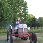 Heather first tractor ride
